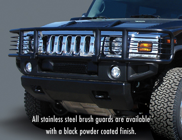 All stainless steel brush guards are available with a black powder coated finish.